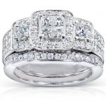 Princess Diamond Wedding Ring Set 1 1/6 carat (ctw) in 14k White Gold