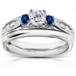 Blue Sapphire and Diamond Bridal Set 5/8 Carat (ctw) in 14k White Gold