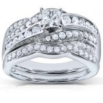 Princess Cut Diamond Engagement Ring and Wedding Band Set 1carat (ctw) in 14k White Gold