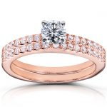 Round Brilliant Diamond Wedding Ring Set 3/4 Carat (ctw) in 14k Rose Gold