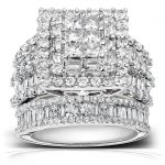 Diamond Engagement Ring and Wedding Band Set 3 4/5 carats (ctw) in 14K White Gold