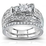 Round Diamond Bridal Set Ring 1 1/10Carat (ctw) in 14k White Gold