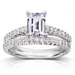Emerald Cut Diamond Bridal Set 1 1/3 Carat (ctw) in 14K White Gold