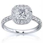 Princess Cut Diamond Engagement Ring 1 2/5 Carat (ctw) in 14k White Gold