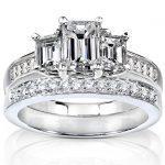 Emerald Cut Diamond Three Stone Bridal Ring Set 1 7/8 Carat (ctw) in 14k White Gold