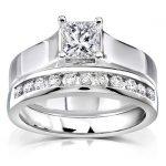 Princess Cut Diamond Bridal Set 7/8 Carat (ctw) in 14k White Gold