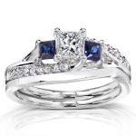 Diamond and Sapphire Bridal Set 1 Carat (ctw) in 14K White Gold