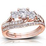 Round Diamond Bridal Set Ring 1 1/10 Carat (ctw) in 14k Gold