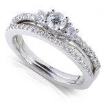 Round Diamond Three-Stone Bridal Set 5/8 Carat (ctw) in 14k White Gold