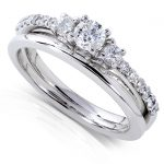 Round Diamond Three-Stone Bridal Set 1/2 Carat (ctw) in 14k White Gold