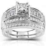 Princess and Round Diamond Bridal Set 1 Carat (ctw) in 14k White Gold