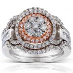 Diamond Cluster Bridal Ring Set 1 Carat (ctw) in 14k Gold