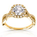 Round Halo Style Diamond Engagement Ring 1 1/2 CTW in 14k Yellow Gold