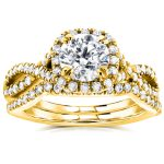 Round Halo Style Diamond Braided Bridal Set 1 3/4 CTW in 14k Yellow Gold
