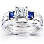 Blue Sapphire and Diamond Bridal Ring Set 1 Carat (ctw) In 14k White Gold (3 Piece Set)