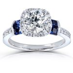 1 1/2 CTW IGI USA Diamond and Sapphire Engagement Ring 14K White Gold – Size 5.5