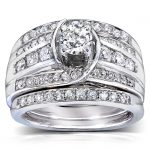 Round Diamond Bridal Set 1 1/10 Carat (ctw) in 14k White Gold (3 Piece Set)