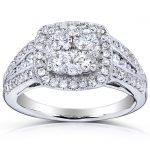 Cushion Shape Multi Diamond Engagement Ring 1 Carat (ctw) in 14k White Gold