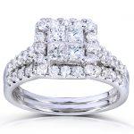 Princess and Round Diamond Bridal Set 1 5/8 Carat (ctw) in 14k White Gold