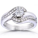Round-cut Curved Diamond Ring 5/8 Carat (ctw) in 14k White Gold