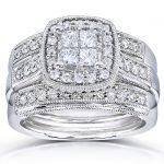 Princess Quad Diamond 3-piece Bridal Ring Set 7/8 Carat (ctw) in 14k White Gold