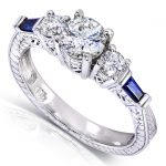 Vintage Three Stone Diamond and Sapphire Engagement Ring 1 Carat (ctw) in 14k White Gold