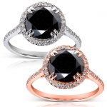 Black and White Diamond Engagement Ring 3 3/4 Carat (ctw) in 14K Gold