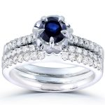 Round Blue Sapphire & Diamond Bridal Set 4/5 CTW in 14k White Gold (3 Piece Set)