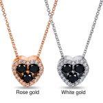 Black and White Diamond Heart Shape Pendant 2/5 Carat (ctw) in 10k Gold (16″ Chain)