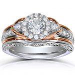 Round-Cut Halo Diamond Bridal Set 1 Carat (ctw) in 14k Two-Tone Gold