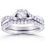 Round Diamond Criss Cross Bridal Set 3/4 CTW in 14k White Gold