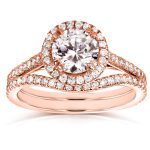 Round-cut Halo Diamond Bridal Ring Set 1 1/2 Carat (ctw) in 14k Rose Gold