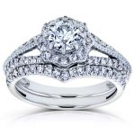 Diamond Star Halo Bridal Set 1 CTW 14k White Gold (2 Piece Set)