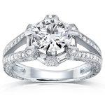 Art Deco Diamond Engagement Ring 1 1/2 CTW 14k White Gold