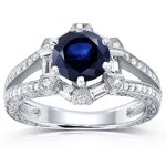 Art Deco Blue Sapphire and Diamond Engagement Ring 1 3/5 CTW 14k White Gold