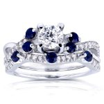Round Diamond and Scattered Blue Sapphire Bridal Set 1 CTW in 14k White Gold