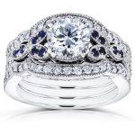 Round Diamond and Blue Sapphire 3 Piece Bridal Set 1 2/5 CTW in 14k White Gold