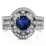Antique Floral Round Sapphire and Diamond 3 Piece Bridal Set 1 7/8 CTW in 14k White Gold