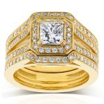 Princess Cut Diamond Halo Bridal Set 1 1/2 CTW in 14k Yellow Gold (3-Piece Set)