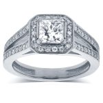 Princess Cut Diamond Halo Engagement Ring 1 1/8 CTW in 14k White Gold