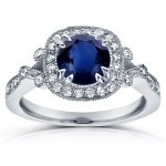 Antique Sapphire and Diamond Engagement Ring 1 2/5 CTW in 14k White Gold