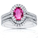 Halo Diamond and Oval Pink Sapphire Bridal Set 1 3/4 CTW in 14k White Gold (3 Piece Set)