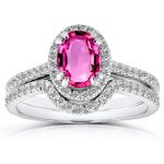 Halo Diamond and Oval Pink Sapphire Bridal Set 1 1/2 CTW in 14k White Gold