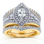 Art Deco Marquise Diamond Bridal Set 1 1/3 CTW in 14k Two-Tone Gold (3 Piece Set)