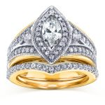 Art Deco Marquise Diamond Bridal Set 1 1/6 CTW in 14k Two-Tone Gold