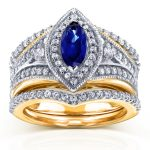 Art Deco Marquise Blue Sapphire & Diamond Bridal Set 1 1/3 CTW in 14k Two-Tone Gold
