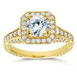 Antique Round Diamond Engagement Ring 1 3/5 CTW in 14k Yellow Gold