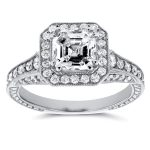 Antique Asscher Diamond Engagement Ring 1 3/5 CTW in 14k White Gold