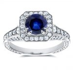 Sapphire and Diamond Halo Antique Milgrain Ring 1 3/5 CTW in 14k White Gold