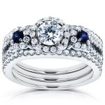Three-Stone Blue Sapphire and Diamond Halo Bridal Set 1 2/5 CTW in14k White Gold (3 Piece Set)